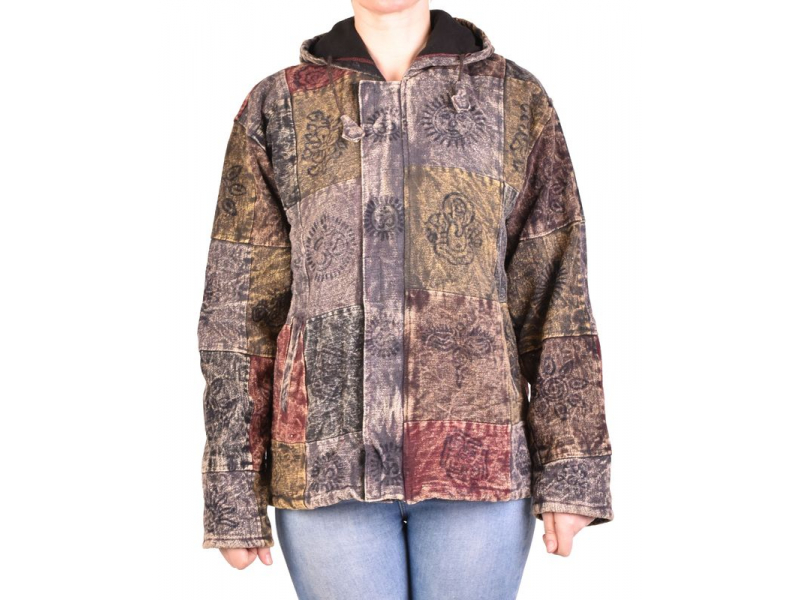 Pánská bunda s kapucí zapínaná na zip, hnědo-šedá, potisk, stone wash