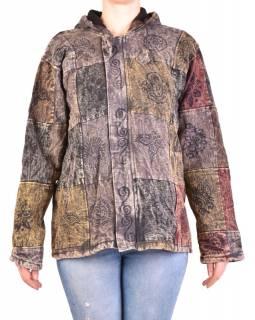 Pánská bunda s kapucí zapínaná na zip, vínovo-šedá, potisk, stone wash