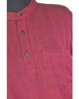 Vínová pánská košile-kurta s dlouhým rukávem a kapsičkou
