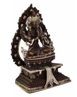 """Soška """"Avalokiteshvara"""", sedící, 13cm, poztříbřená, měď"""