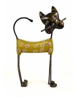 Soška kočky, dřevěná, ručně malovaná, mosazné kování, 21x34cm