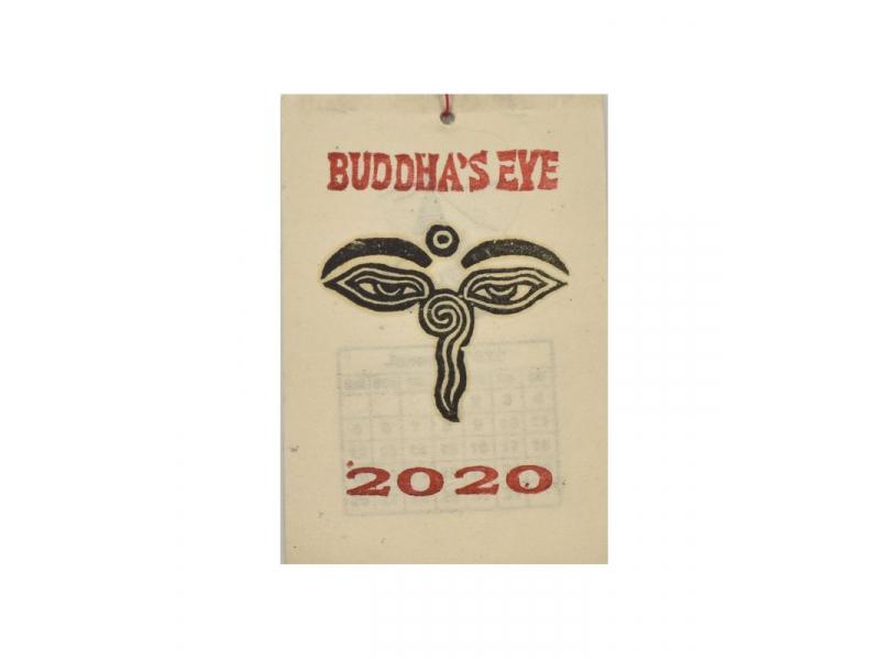 Kalendář na rok 2020 ručně tisklý na rýžovém papíru, 10x15cm