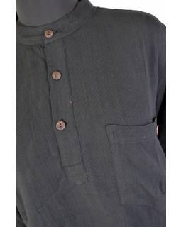 Černá pánská košile-kurta s dlouhým rukávem a kapsičkou
