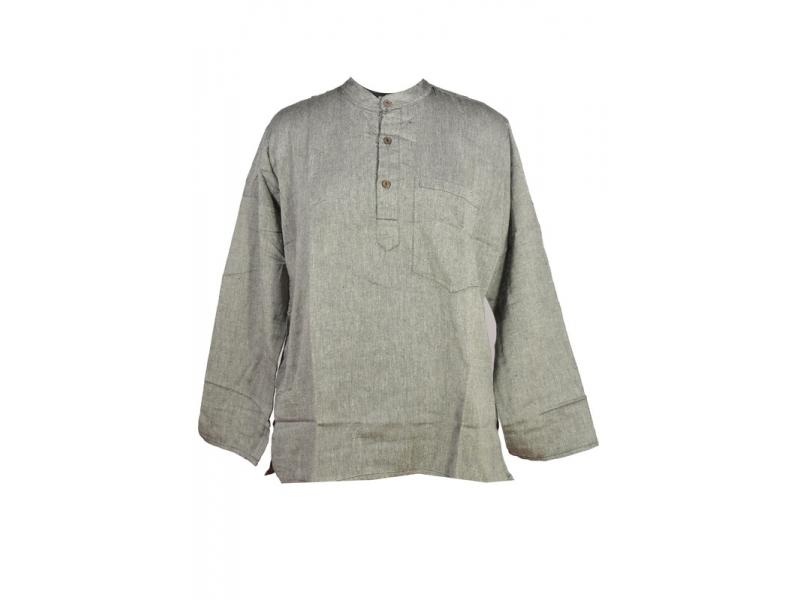 Šedá pánská košile-kurta s dlouhým rukávem a kapsičkou