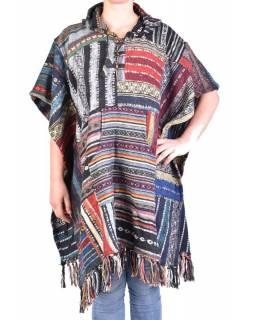 Tibetské pončo z česané bavlny, kapsy, kapuca, multibarevné, patchwork
