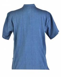 Tmavě modrá pánská košile-kurta s krátkým rukávem a kapsičkou