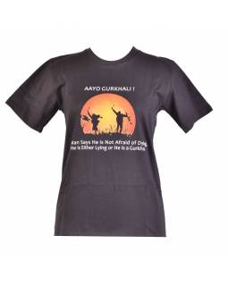 Černé triko s krátkým rukávem, potisk AAYO GURKHALI!