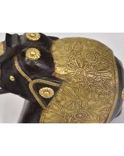 Slon, dřevěný, zdobený mosazí, 17x8x17cm