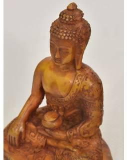 Buddha, sedící na podstavci, antik úprava, pryskyřice, 11cm