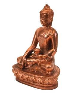 Buddha Šakjamuni, sedící, měděná patina, pryskyřice, 14cm