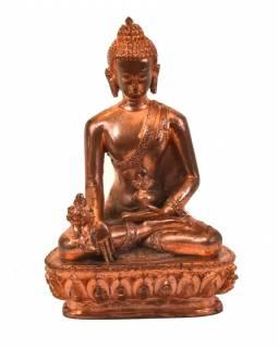 Uzdravující Buddha, sedící, měděná patina, pryskyřice, 14cm