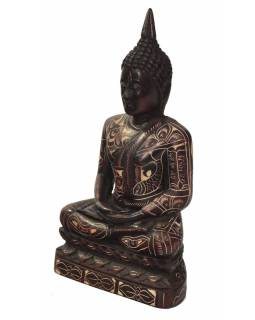 Buddha,sedící, podstavec, ručně vyřezávaný, pryskařice, 17cm