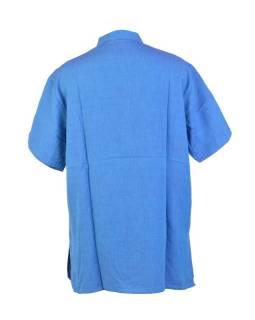 Modrá pánská košile-kurta s krátkým rukávem a kapsičkou