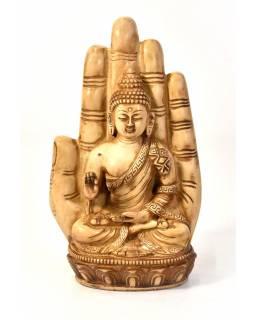 Buddha Amoghasiddhi v dlani, řučně vyřezávaný, pryskyřice, 23cm