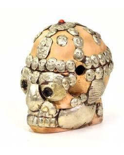 Lebka, rozkládací, zdobená ručně tepaným kovem, pryskyřice, 12cm