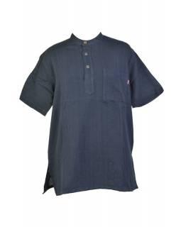 Černá pánská košile-kurta s krátkým rukávem a kapsičkou