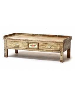 Starý kupecký stolek z teakového dřeva,  100x43x35cm