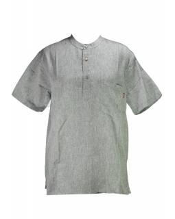 Šedá pánská košile-kurta s krátkým rukávem a kapsičkou