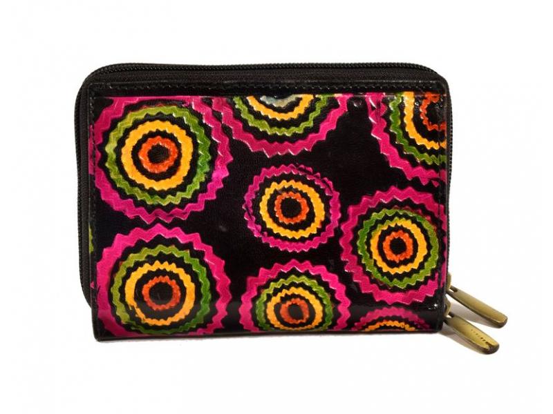 """Peněženka design """"Ziz Zak Circles"""", ručně malovaná kůže, černá, 15x10cm"""