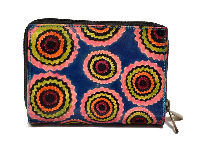"""Peněženka design """"Ziz Zak Circles"""", ručně malovaná kůže, modrá, 15x10cm"""