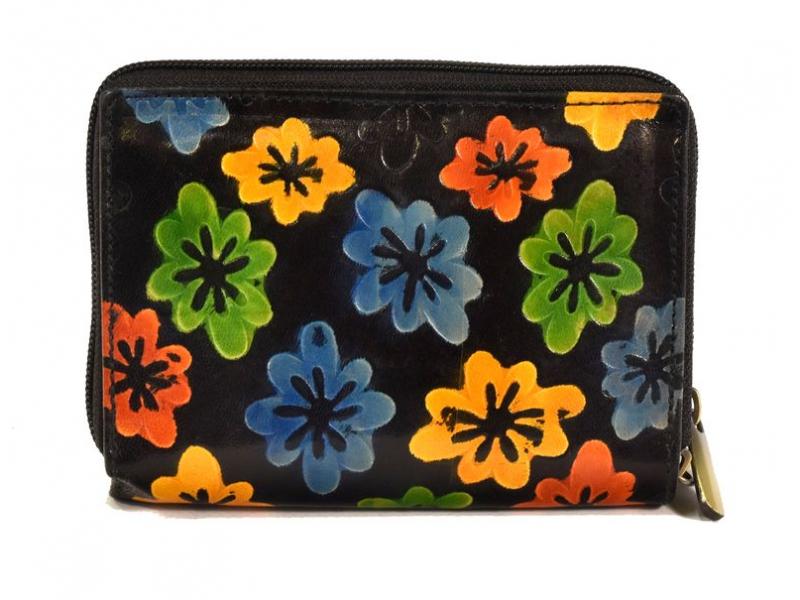 """Peněženka design """"Drobné květy"""", ručně malovaná kůže, černá, 15x10cm"""