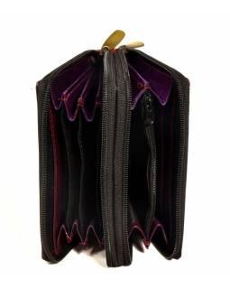 """Peněženka design """"Drobné květy"""", ručně malovaná kůže, vínová, 15x10cm"""
