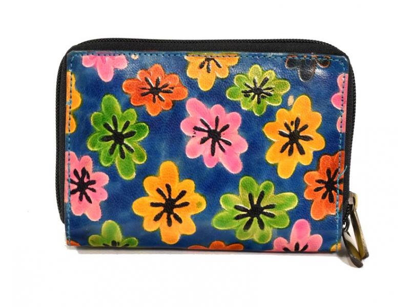 """Peněženka design """"Drobné květy"""", ručně malovaná kůže, modrá, 15x10cm"""