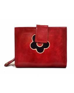 """Peněženka, design """"Kytička"""", ručně malovaná kůže, červená, 12x9cm"""