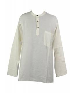 Bílá pánská košile-kurta s dlouhým rukávem a kapsičkou,měkčené proveden