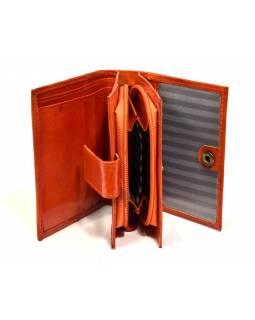 """Peněženka, design """"Kytička"""", ručně malovaná kůže, oranžová, 12x9cm"""