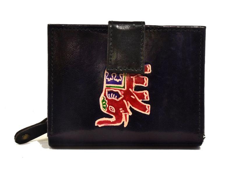 """Peněženka, design """"Slon"""", ručně malovaná kůže, černá, 12x9cm"""