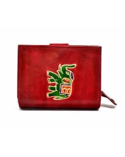 """Peněženka, design """"Slon"""", ručně malovaná kůže, červená, 12x9cm"""