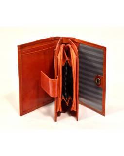 """Peněženka, design """"Slon"""", ručně malovaná kůže, oranžová, 12x9cm"""