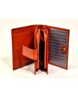 """Peněženka, design """"Kočka"""", ručně malovaná kůže, oranžová 12x9cm"""