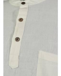 Bílá pánská košile-kurta s dlouhým rukávem a kapsičkou, měkčené provedení