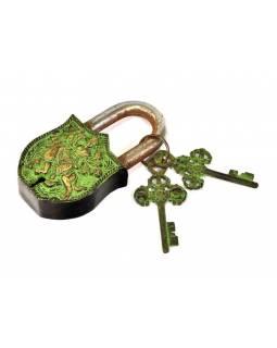 Visací zámek, Durga, zelená mosaz, dva klíče ve tvaru dorje, 11cm