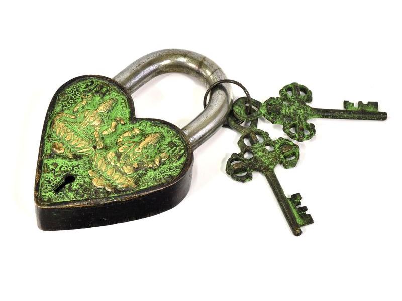 Visací zámek, srdce s Lakšmí a Ganéšou, zelená mosaz, 12cm