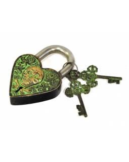 Visací zámek, srdce s lebkou, zelená mosaz, dva klíče ve tvaru dorje, 12cm