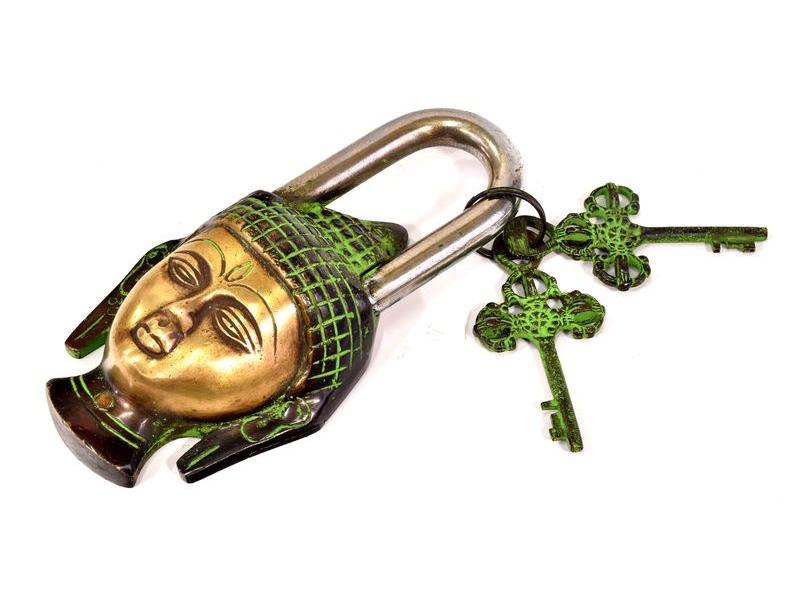 Mosazný visací zámek Buddhova hlava, 2 klíče, 15x8cm