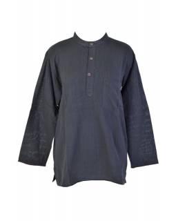 Černá pánská košile-kurta s dlouhým rukávem a kapsičkou, měkčené provedení
