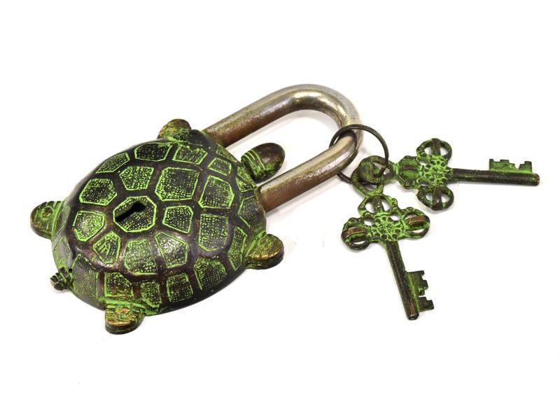 Visací zámek, želva, mosaz antik, dva klíče, 13x7cm, klíč 7cm