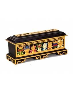 Krabička na pálení vonných tyčinek, vyřezávaná, malovaná, 39x12x14cm