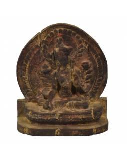 Zelená Tara, dřevěná socha, ruční práce, antik úprava, 26cm