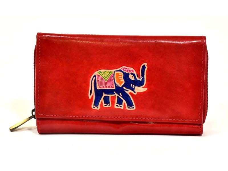 Peněženka zapínaná na zip, červená se slonem, malovaná kůže, 17x11cm