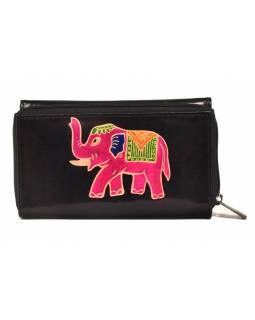 Peněženka zapínaná na zip, černá se slonem, malovaná kůže, 17x11cm