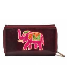 Peněženka zapínaná na zip, vínová se slonem, malovaná kůže, 17x11cm