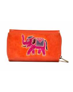 Peněženka zapínaná na zip, hnědá se slonem, malovaná kůže, 17x11cm