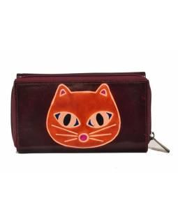 Peněženka zapínaná na zip, fialová s kočkou, malovaná kůže, 17x11cm