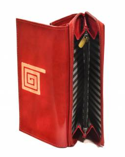 Peněženka zapínaná na zip, červená se spirálou, malovaná kůže, 17x11cm