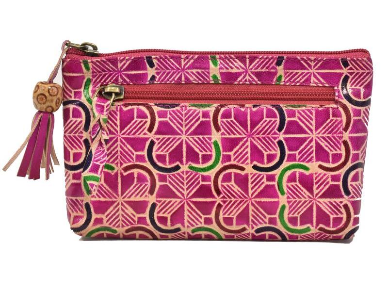 Neceser zapínaný na zip, růžový, ručně malovaná kůže, 18x11cm